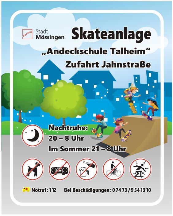 Schild Skateanlage Andeckschule