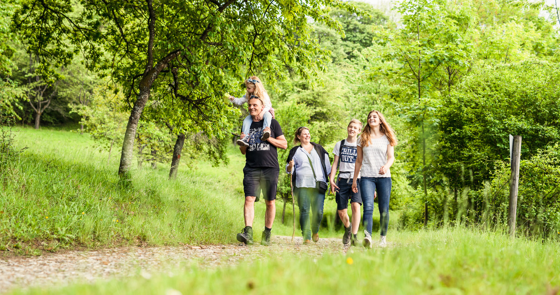 Familie geht im Wald spazieren