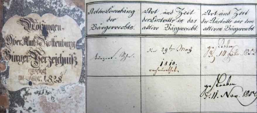 Bürgerverzeichnis von Mössingen aufgeschlagen