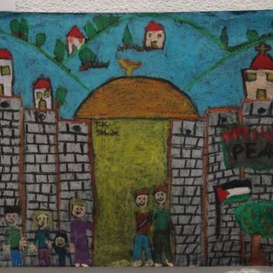 Dritter Platz internationaler Malwettbewerb Gemälde von Kind aus Palästina