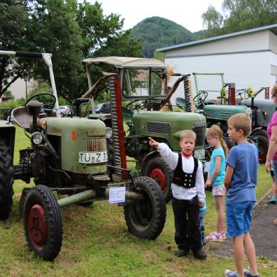 Alte und neue Traktoren begeistern die Kinder bei der Ausstellung