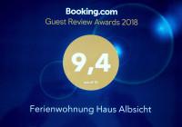 """Das """"Haus Albsicht erhielt für die Top-Bewertung 9,4 den Guest Review Award 2018"""