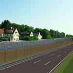 Vorlage einer Lärmschutzwand, die außen an der Bundesstraße aufgebaut wird und die Bewohner vor dem Lärm der Straße schützt
