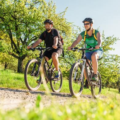 Zwei Radfahrer in den Streuobstwiesen