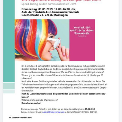 Flyer zum Speeddating