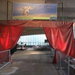 Theatervorhang in der Pausa-Bogenhalle