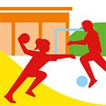 Grafik mit einem Fußballspieler und einer Handballspielerin