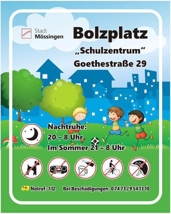 Schild Bolzplatz Schulzentrum
