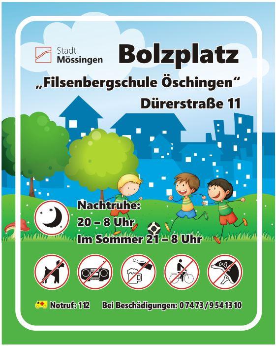 Schild Bolzplatz Filsenbergschule