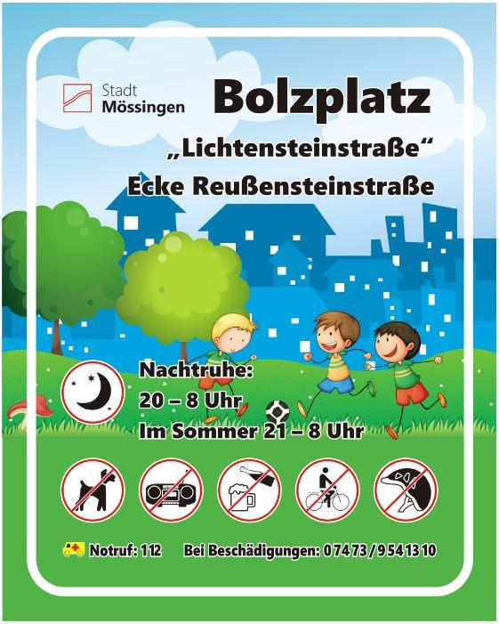 Schild Bolzplatz Lichtensteinstr.