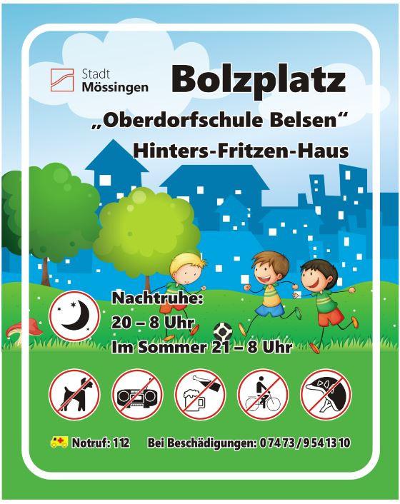 Schild Bolzplatz Oberdorfschule
