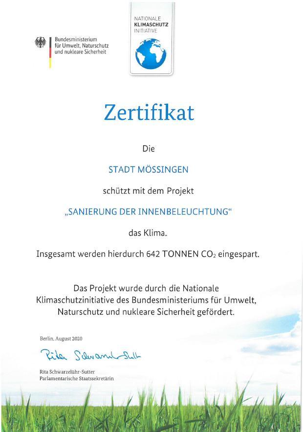 Zertifikat Innenbeleuchtg Büros