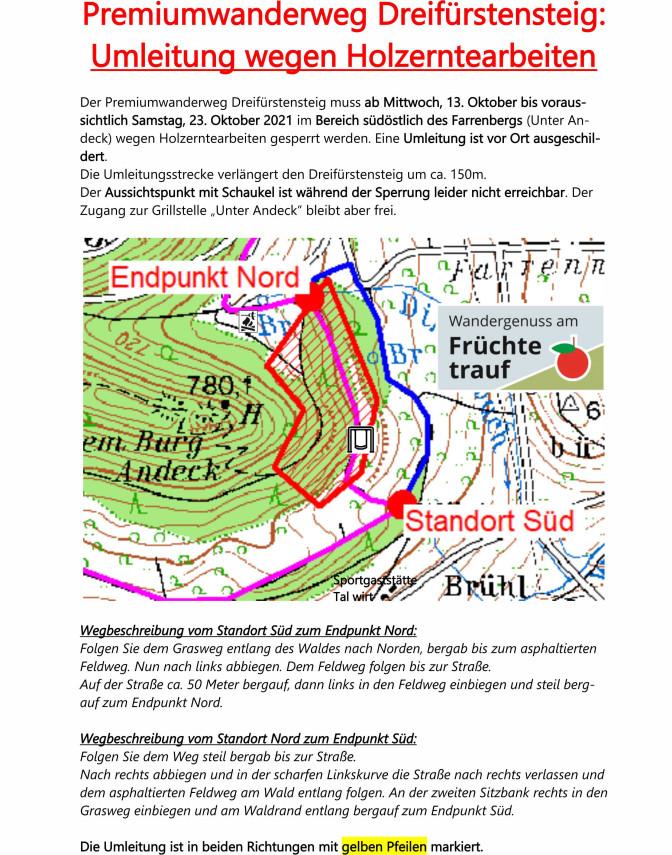 Teil-Sperrung des Dreifürstensteigs im Oktober 2021